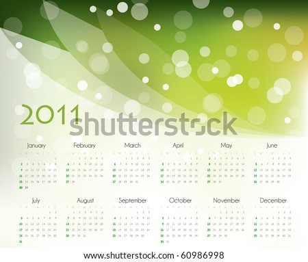 2011 calendar design - stock vector