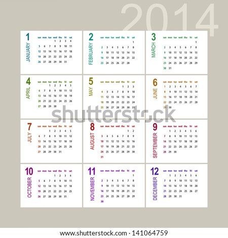2014 calendar design on light background - week starts with sunday - stock vector