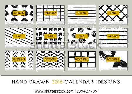 2016 calendar design template, each card is scalable to A4 size, printable. Abstract brush strokes black on white background and details in gold. - stock vector