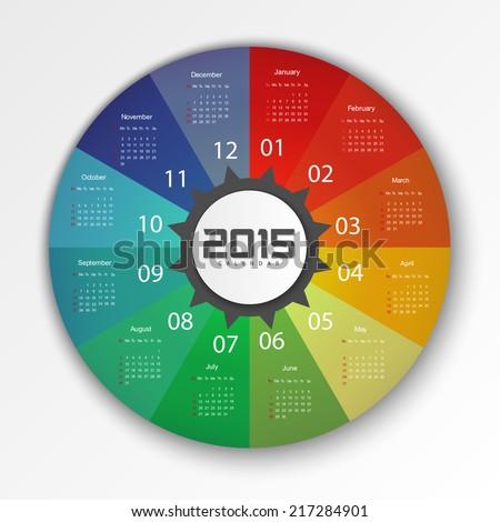 2015 Calendar Design Template - Week Start With Sunday - stock vector