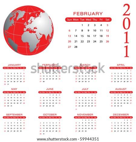2011 Calendar - February - eps10 - stock vector