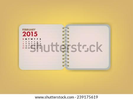 2015 Calendar February Notebook Design Vector - stock vector