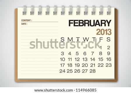 2013 Calendar February Old Torn Paper Vector - stock vector