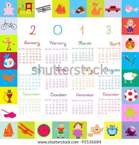 2013 calendar for kids - stock vector