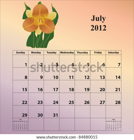 2012 Calendar for the month of July