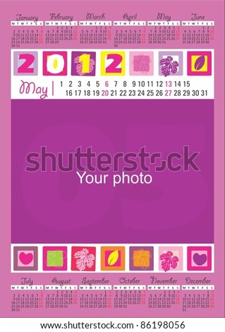 2012 Calendar for the month of May