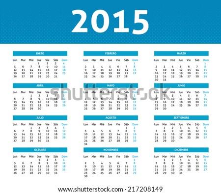 2015 calendar in blue halftone style (Monday to Sunday) in Spanish - stock vector