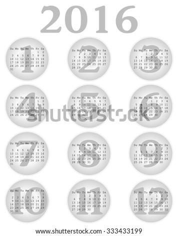 2016 Calendar in Grey - stock vector