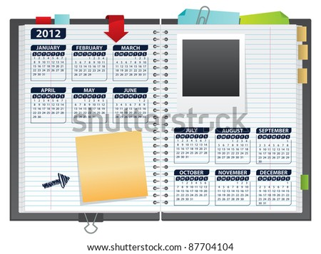 2012 calendar in notebook - stock vector