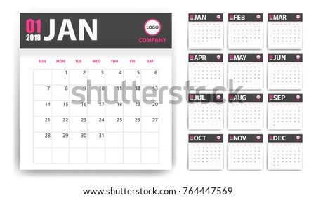 2018 calendar in paper stickers with shadow style. Grey and pink. Event planner. All size. Vector illustration