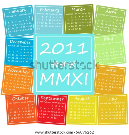 2011 calendar in seasonal colors, weeks start on Monday - stock vector