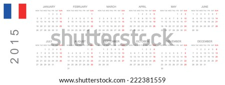 2015 Calendar isolated on white background - stock vector