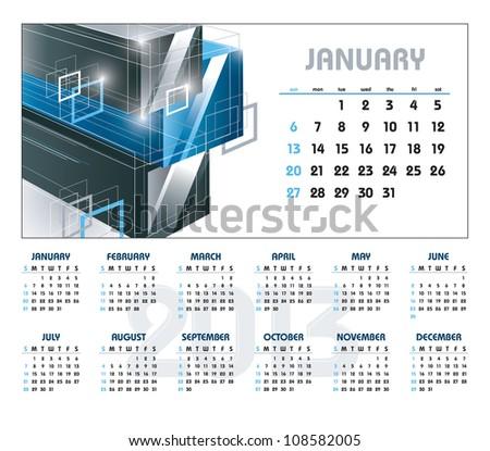 2013 Calendar. January. - stock vector