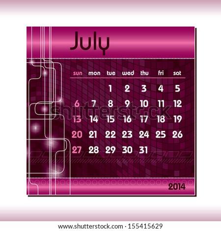 2014 Calendar. July. - stock vector
