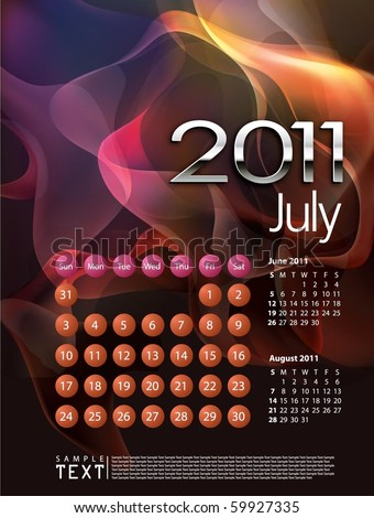 2011 Calendar July - stock vector