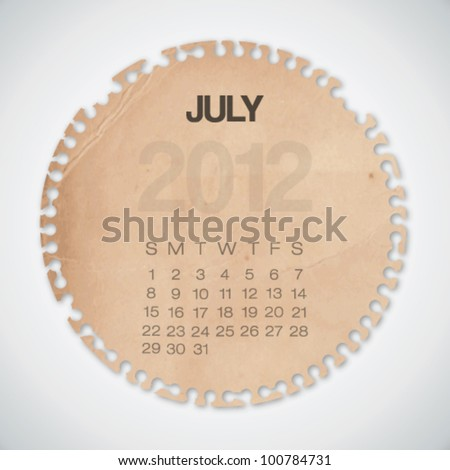 2012 Calendar July Old Circle Torn Paper Vector - stock vector