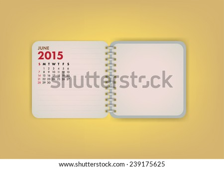 2015 Calendar June Notebook Design Vector - stock vector
