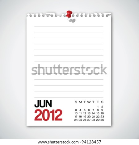 2012 Calendar June Torn Edges Paper Vector - stock vector