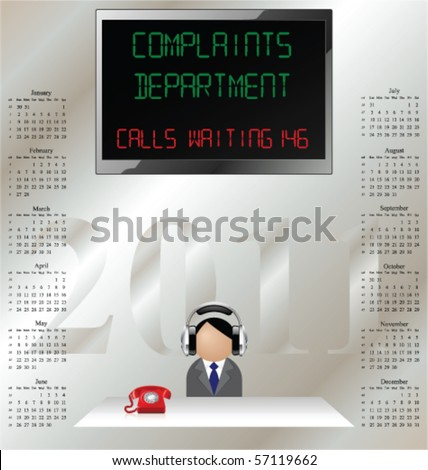 2011 calendar man in customer complaints department wearing ear defenders