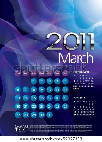 2011 Calendar March - stock vector