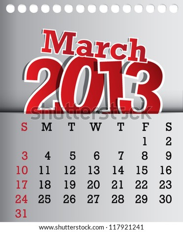 2013 Calendar March Sticker Design - stock vector