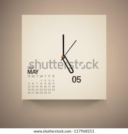 2013 Calendar May Clock Design Vector - stock vector