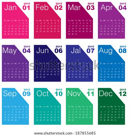 2015 calendar Minimal - stock vector