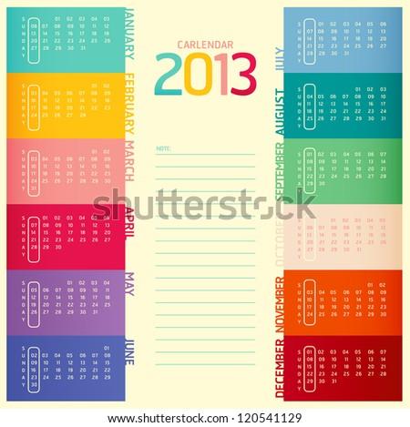 2013 calendar modern soft color,vector - stock vector
