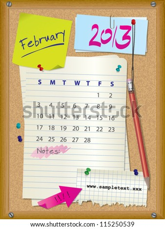 2013 calendar - month February - cork board with notes - stock vector