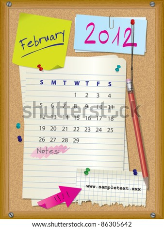 2012 calendar - month February - cork board with notes --> 2013 CALENDAR ALSO AVAILABLE IN MY PORTFOLIO - stock vector