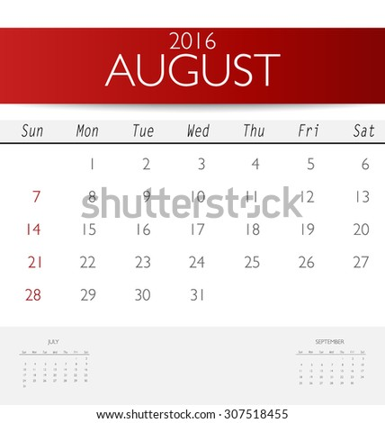 2016 calendar, monthly calendar template for August. Vector illustration. - stock vector