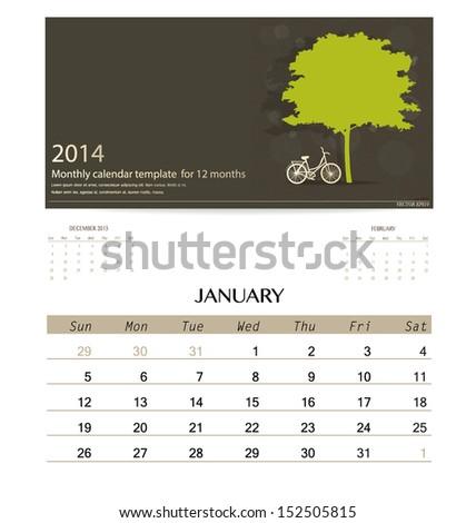 2014 calendar, monthly calendar template for January. Vector illustration. - stock vector