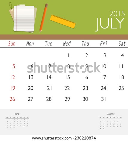 2015 Calendar Monthly Calendar Template July Stock Vector