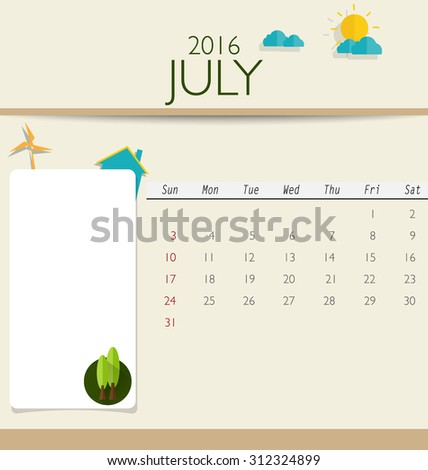 2016 calendar, monthly calendar template for July. Vector illustration. - stock vector