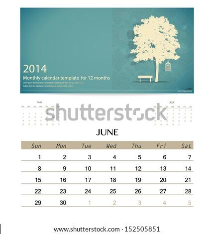 2014 calendar, monthly calendar template for June. Vector illustration. - stock vector