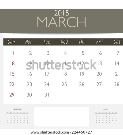 2015 Calendar Monthly Calendar Template March Stock Vector (2018 ...