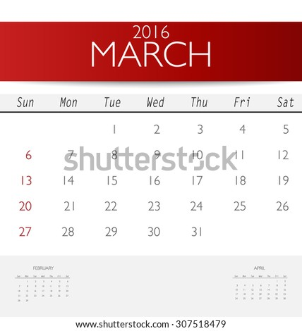 2016 calendar, monthly calendar template for March. Vector illustration. - stock vector