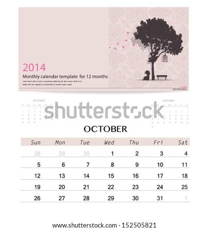 2014 calendar, monthly calendar template for October. Vector illustration. - stock vector