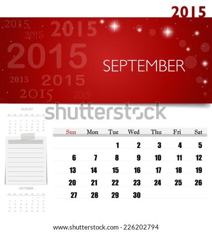 2015 Calendar Monthly Calendar Template September Stock Vector