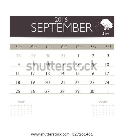 2016 calendar, monthly calendar template for September. Vector illustration. - stock vector