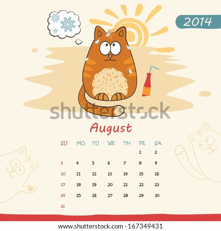 2014 calendar, monthly calendar template with cats for August. Vector  - stock vector