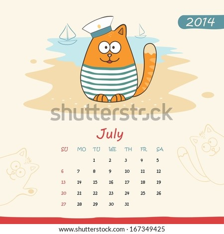 2014 calendar, monthly calendar template with cats for July. Vector  - stock vector