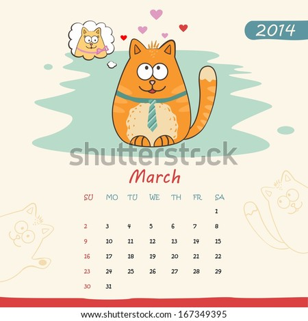 2014 calendar, monthly calendar template with cats for March. Vector  - stock vector