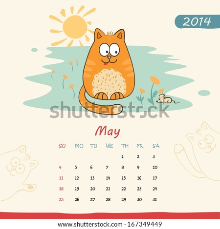 2014 calendar, monthly calendar template with cats for May. Vector  - stock vector