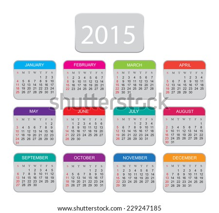2015 calendar.Months in color icons.Vector illustration. - stock vector