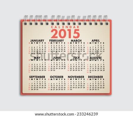 2015 Calendar Notebook Vector - stock vector