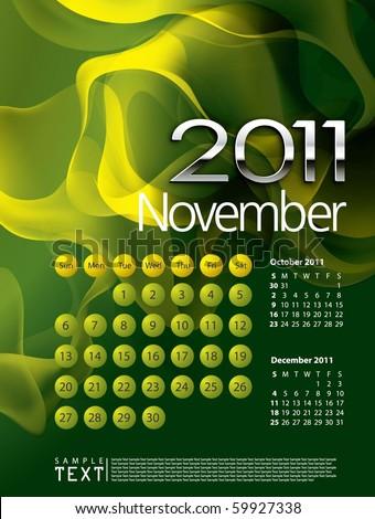 2011 Calendar November - stock vector