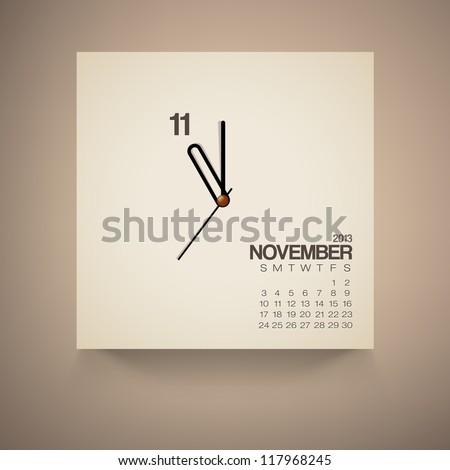 2013 Calendar November Clock Design Vector - stock vector