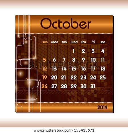 2014 Calendar. October. - stock vector