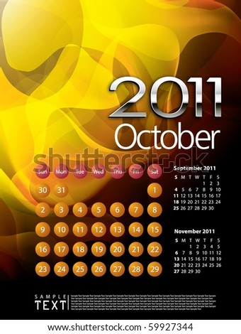 2011 Calendar October - stock vector